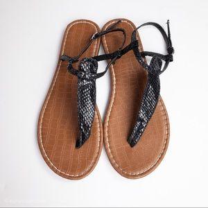 Faux Snakeskin Sandals Ankle Strap Black Brown